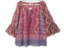 NEW ~ Boho Fabulous ~ Pink Blue Border Print Bell Sleeves Blouse Top Size XL