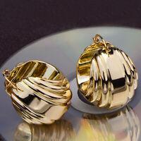 Boucles d'oreilles Creole Doré Anneau Stylé Metal Large Creux Brillant Retro M5