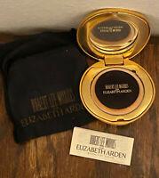 Vintage Robert Lee Morris Elizabeth Arden Gold Clam Shell Powder Compact Sponge