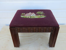 Chinese Chippendale Mahogany Needlepoint Tapestry Ottoman Footstool Bench 9230
