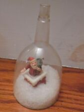 Vintage Christmas Plastic Snow Globe Snow Dome Santa~Out Of Chimney~Jcd