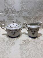Antique Renaissance Porcelain,Sugar Bowl and Creamer.