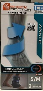 Shock Doctor Ice Recovery Compression Ankle Wrap Soccer Football Size S/m 3 Gel