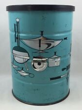 Vintage KROGER coffee can 1 pound - Turquoise - Mid Century Modern Graphics Cool
