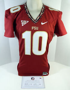 Florida State Seminoles #10 Game Issued Red Jersey QB Cut 44 923