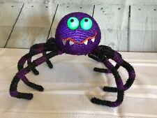 """LED Color Changing Halloween Spider Green Eyes Flexible Wire 9"""" Legs Silly Face"""