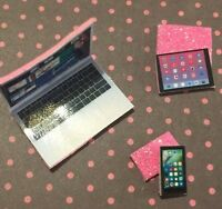 LPS *PINK* Laptop Tablet Phone 3+ Littlest Pet Shop Accessories Lot FREE SHIP