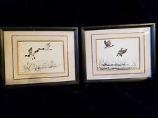 2 Original Pen and Ink Framed & Matted Geese Pictures Signed by Artist Magarian