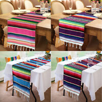 Mexican Serape Table Runner Cotton Blanket Fiesta Party Wedding Birthday Decor