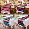 1/10x Mexican Serape Table Runner Festival Party Fringe Cotton Tablecloth Decor