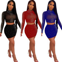 2 Piece Women Bodycon Crop Top Skirt Set Bandage Dress Party Long Sleeve Sequin