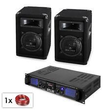 SET EQUIPO DE SONIDO PA ALTAVOZ 250W SUBWOOFER AMPLIFICADOR PUERTO USB SD CABLES