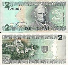 Lithuania P54a, 2 Lita, Bishp Valancius / Trakai Island castle, UNC, 1994 $10CV!