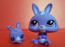 Littlest Pet Shop púrpura Conejo de mamá/Momia & Conjunto De Bebé