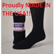 BLACK DIABETIC SOCKS CREW SOCKS PHYSICIANS CHOICE, SIZE 13-15 Made in the USA