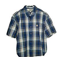 Carhartt Men's XL Button Down Short Sleeve Shirt Plaid Relaxed Fit Blue Gray Yel