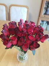 3 DOZEN. - RED/BLACK WOODEN ROSE BUDS 5 X 8 ARTIFICIAL FLOWERS - FREE SHIPPING