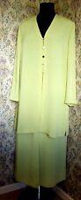 Traje de dos piezas vintage por Jacques Vert Talla 18 Falda & Chaqueta Luz Verde Amarillo