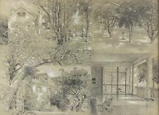 John Albert Seaford (American, 1858 – 1936) Pastel & charcoal  4 views of house