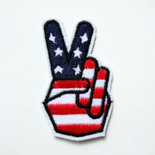 V Sign Victory USA Flag Embroidered Patch Iron on Hand Gesture Badge Applique