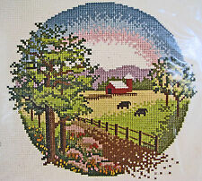 Sunset Stitchery Counted Cross Stitch Country Meadow Vintage Cows Barn New