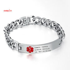 Personalized Mens Silver Medical Alert ID SOS Bracelet Bangles Chain Engraving