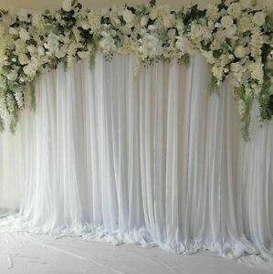 "White Drape Stage Backdrop Fabric 100% Polyester Moss Crepe Chiffon Sheer 44""W"
