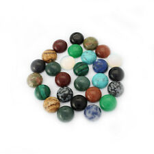 5Pcs 12mm Round Natural Gem Stone Beads Flat Back DIY Jewellery Making Findings