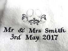 2 PERSONALISED BATH TOWEL - WEDDING / ENGAGEMENT EMBROIDERED GIFT ANY TEXT