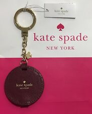 NWT Kate Spade Round Leather Black Cherry Mirror Key Chain Fob Keychain Charm