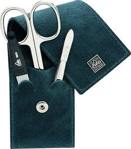 Becker-Manicure Erbe Solingen 3-tlg. Manicure Case Leather Blue Stainless Steel