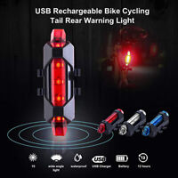 5 LED USB Rechargeable Bike Tail Light Bicycle Cycling Safety Warning Rear Lamp