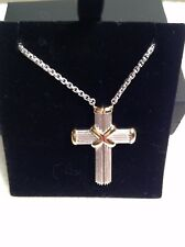 Sterling Silver LARGE CROSS STRIPES Gold Details PETRA AZAR Magnetic Clasp #18