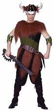 VIKING MENS FANCY DRESS WARRIOR OUTFIT ADULT DELUXE MEDIEVAL TUNIC HORN COSTUME