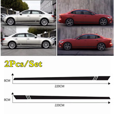 220*8CM 2Pcs Black Stripes Style Vinyl Decal Stickers For Car Body Side Doors
