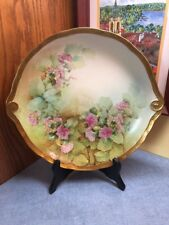 Hand Painted Artist Signed Richard Ginori Italy Pink Flowers & Gold shallow bowl