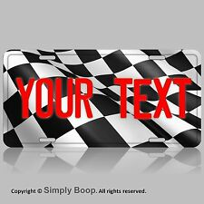 Checkered Racing Flag YOUR TEXT Personalized Red Text Aluminum License Plate