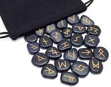 Blue Goldstone Elder Futhark Rune Set Hand Carved Gemstone Runic
