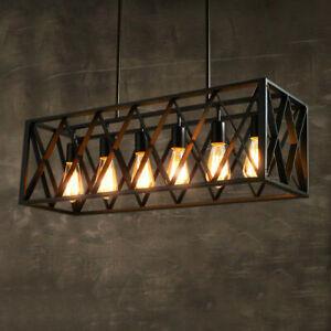 Loft Industrial Black Metal Rectangle 4/6 Bulbs Ceiling Pendant Lights Kitchen