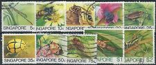 p213) Singapore. 1985/89. Used. SG 491 to 500. Insects . c£12+>