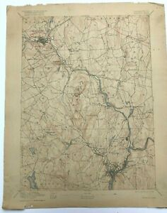 Antique 1918 Geological Survey Topographic Map CT Norwich Franklin Willimantic