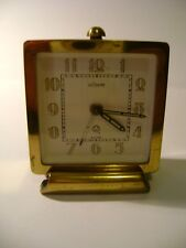 VINTAGE LECOULTRE 2 DAY DESK / ALARM CLOCK STANDING ON A BRASS FOOT IN GWO