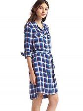 Gap Women's Blue Plaid Tie Belt Shirtdress Dress Size XXL