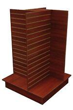 Cherry Wood Pressed Veneer 4 Way Slat Wall Floor Standing 54 Inch Tall Fixture
