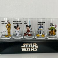 Disney Mickey Mouse STAR WARS Glass Set of 5 Tokyo Disneyland Limited Rare