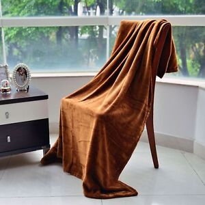 Soft & Comfy Brown Flannel Throw (50x60 in) New in Plastic!  #B317