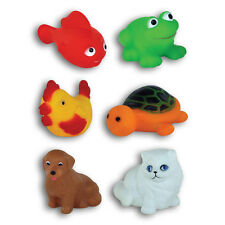 6 Count 2 inch Rubber Animal Bath Or Pool Toys Squeak Toy