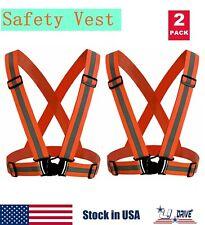 2X High Visibility Adjustable Safety Security Reflective Vest Gear Orange Jacket