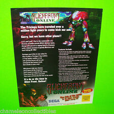 ALIENFRONT ONLINE By SEGA 2000 ORIGINAL VIDEO ARCADE GAME PROMO SALES FLYER