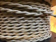 Cloth Covered Twisted Wire - Putty w/ Gold Tracer, Vintage Style Lamp Cord,16ga